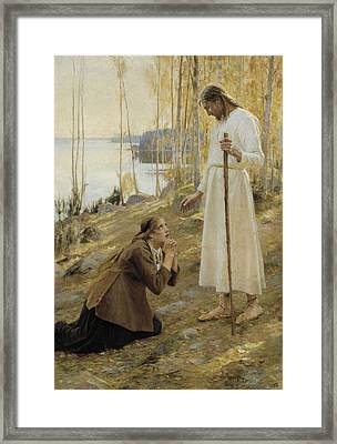 Christ And Mary Magdalene A Finnish Legend Framed Print by Albert Edelfelt