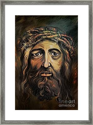 Christ With Thorn Crown. Framed Print by Andrzej Szczerski