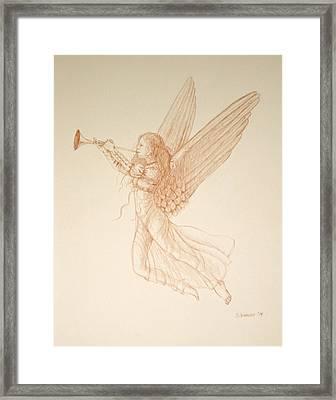Angel With Trumpet Framed Print by Deborah Dendler