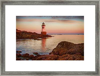 Christmas At Fort Pickering Lighthouse Framed Print by Jeff Folger