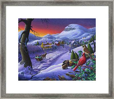 Christmas Sleigh Ride Winter Landscape Oil Painting - Cardinals Country Farm - Small Town Folk Art Framed Print