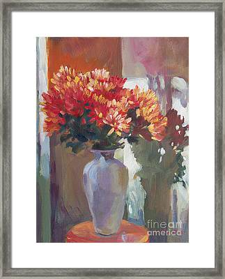 Chrysanthemums In Vase Framed Print by David Lloyd Glover