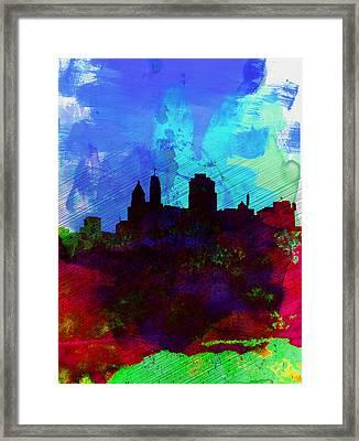 Cincinnati Watercolor Skyline Framed Print