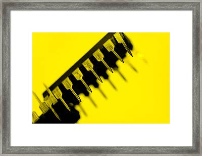 Circuit With Yellow Tone Macro Framed Print by Tommytechno Sweden
