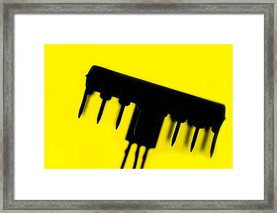 Circuit With Yellow Tone Framed Print by Tommytechno Sweden