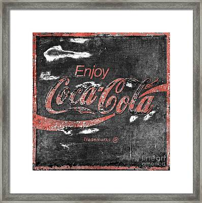 Coca Cola Sign Faded Grunge Framed Print by John Stephens