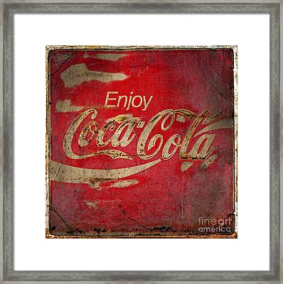 Coca Cola Sign Grungy  Framed Print by John Stephens