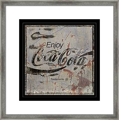 Coca Cola Sign Grungy Retro Style Framed Print by John Stephens