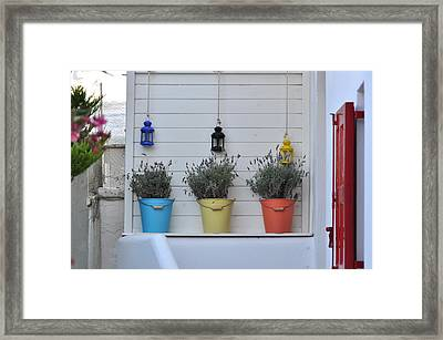 Colored Pails Framed Print by Kathy Schumann