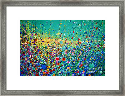 Framed Print featuring the painting  Colorful Flowerscape by Maja Sokolowska