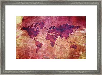Framed Print featuring the digital art  Colorful World Map by Mohamed Elkhamisy