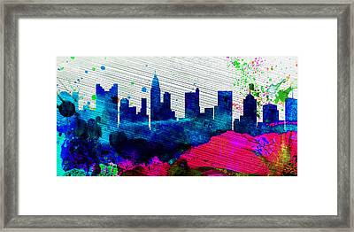 Columbus City Skyline Framed Print by Naxart Studio