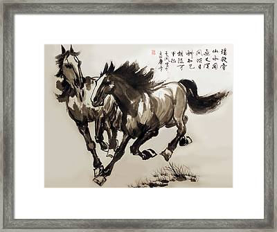 Framed Print featuring the photograph  Companionship by Yufeng Wang