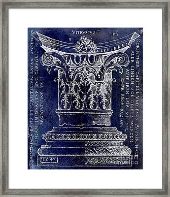 Corinthian Column Blue Framed Print by Jon Neidert