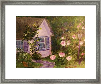 Cottage  In  The  Garden Framed Print by Beth Arroyo