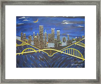 Crescent Over Pittsburgh  Framed Print by Jeffrey Koss