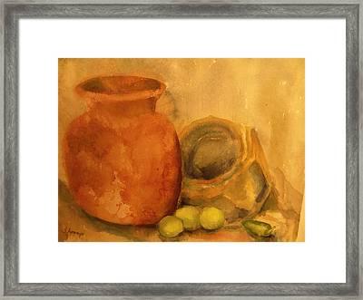 Crock  Pots Framed Print by Beth Arroyo