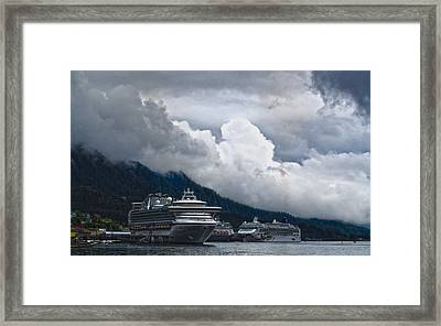 Framed Print featuring the photograph  Cruise Ships At The Dock. by Timothy Latta