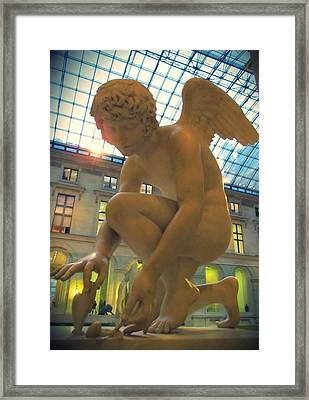 Cupid Playing With A Butterfly - Louvre Museum Paris Framed Print by Marianna Mills
