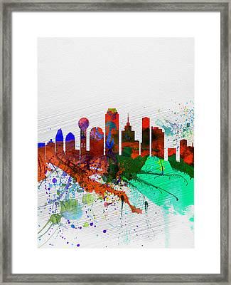 Dallas Watercolor Skyline Framed Print by Naxart Studio