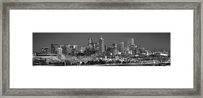 Framed Print featuring the photograph  Denver Skyline At Dusk Black And White Bw Evening Extra Wide Panorama Broncos  by Jon Holiday