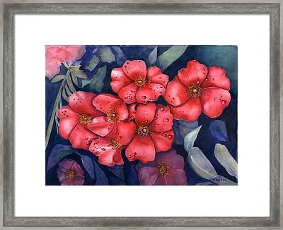 Dew Flowers Framed Print