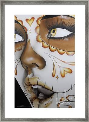 Sugar Skull - ' Dia De Los Muertos ' Framed Print by Christian Chapman Art