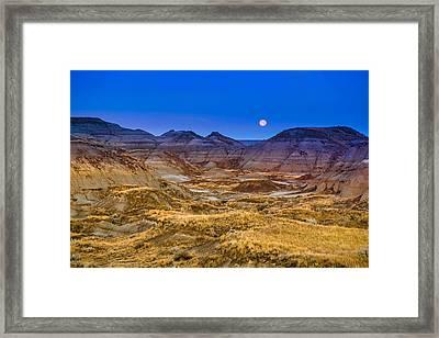Framed Print featuring the photograph  Dinosaur Harvest Moon by Rob Tullis