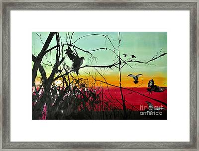 Doves At The Dawn Framed Print
