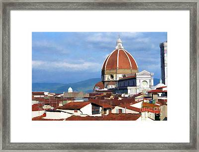 Framed Print featuring the photograph  Duomo Of Florence # 3 by Allen Beatty