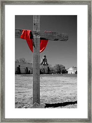 Mission San Juan Easter Cross Framed Print by David and Carol Kelly