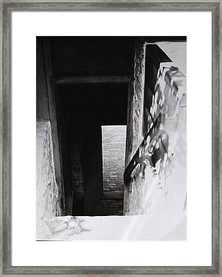 Framed Print featuring the photograph  Ephrata Cloisters Stairway by Jacqueline M Lewis
