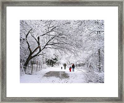 Family Walk In The Snow Framed Print by David and Carol Kelly