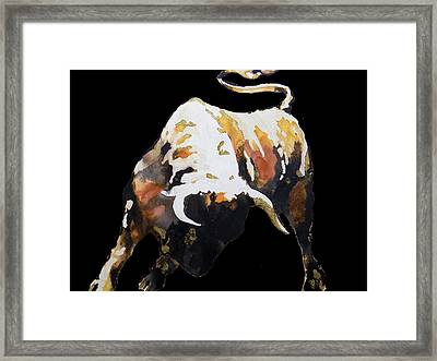Fight Bull In Black Framed Print