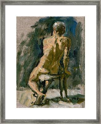 Figure Painting Male Nude Seated Original Oil On Canvas Framed Print