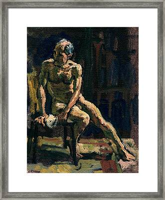 Figure Painting Twist Male Nude Framed Print by Thor Wickstrom