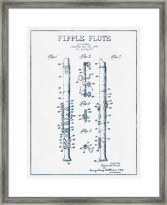 Fipple Flute Patent Drawing From 1959 - Blue Ink Framed Print by Aged Pixel