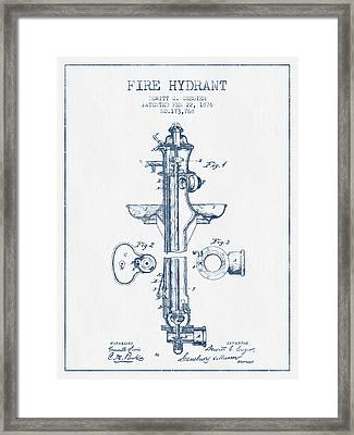 Fire Hydrant Patent From 1876- Blue Ink Framed Print