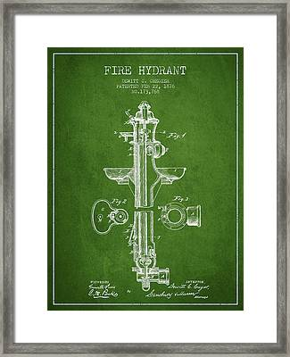 Fire Hydrant Patent From 1876 - Green Framed Print