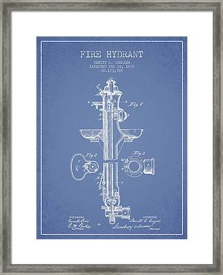 Fire Hydrant Patent From 1876 - Light Blue Framed Print