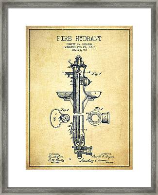 Fire Hydrant Patent From 1876 - Vintage Framed Print by Aged Pixel