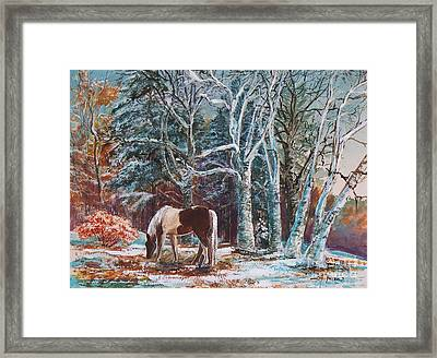Framed Print featuring the painting  First Snow by Joy Nichols