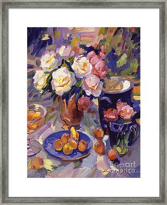 Flowers And Fruit At Montecito Framed Print by David Lloyd Glover