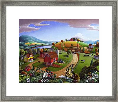 Folk Art Blackberry Patch Rural Country Farm Landscape Painting - Blackberries Rustic Americana Framed Print