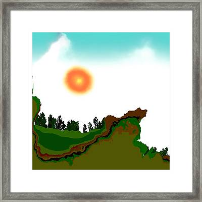 Fractal Landscape Framed Print by GuoJun Pan