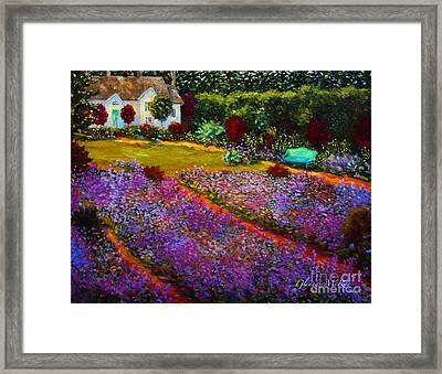 French Palette Of Purple Irises Framed Print