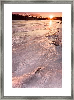 Frozen Ohio River Framed Print
