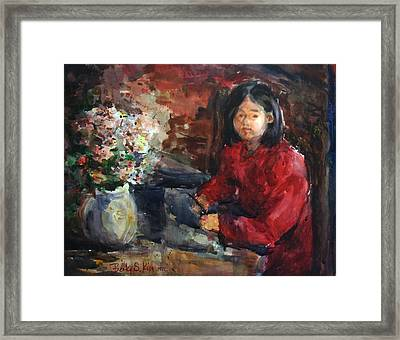 Girl In Red Dress Framed Print by Becky Kim
