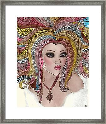 Girl With The Rainbow Hair Framed Print