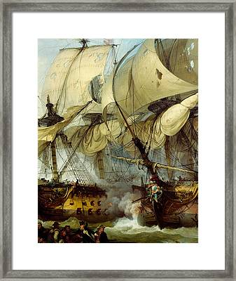 Glorious First Of June Or Third Battle Of Ushant Between English And French Framed Print